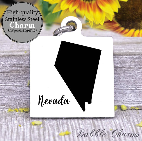 Nevada charm, Nevada, state, state charm, high quality..Perfect for DIY projects