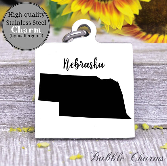 Nebraska charm, Nebraska, state, state charm, high quality..Perfect for DIY projects