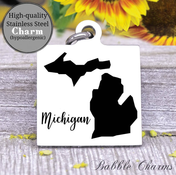 Michigan charm, Michigan, state, state charm, high quality..Perfect for DIY projects