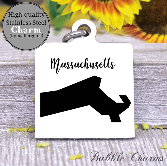 Massachusetts charm, Massachusetts, state, state charm, high quality..Perfect for DIY projects