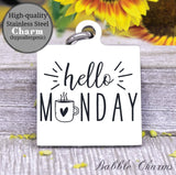 Hello Monday more coffee, coffee, coffee charm, charm, Steel charm 20mm very high quality..Perfect for DIY projects
