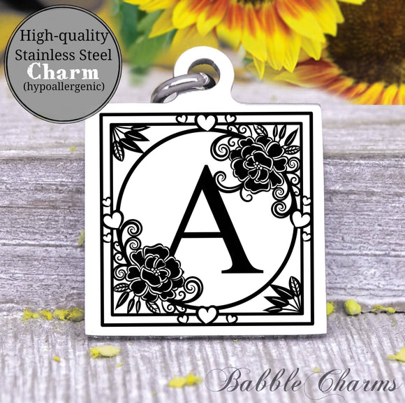 Alphabet charm, Letter A, Alphabet, initial charm, Steel charm 20mm very high quality..Perfect for DIY projects