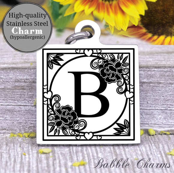 Alphabet charm, Letter B, Alphabet, initial charm, Steel charm 20mm very high quality..Perfect for DIY projects