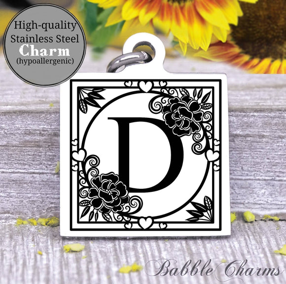 Alphabet charm, Letter D, Alphabet, initial charm, Steel charm 20mm very high quality..Perfect for DIY projects
