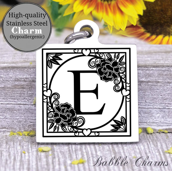 Alphabet charm, Letter E, Alphabet, initial charm, Steel charm 20mm very high quality..Perfect for DIY projects