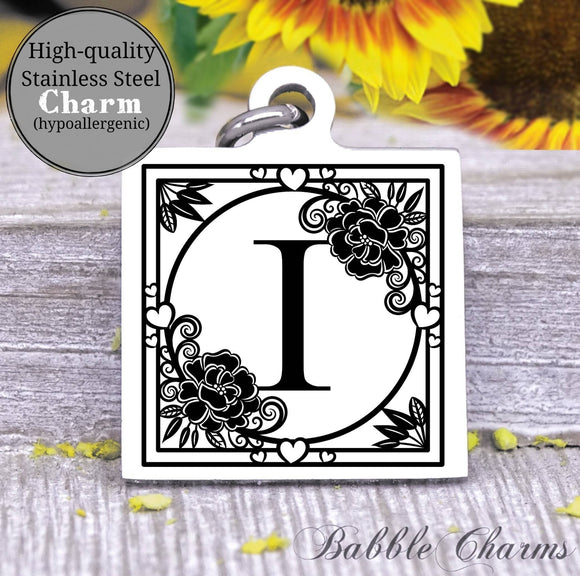 Alphabet charm, Letter I, Alphabet, initial charm, Steel charm 20mm very high quality..Perfect for DIY projects