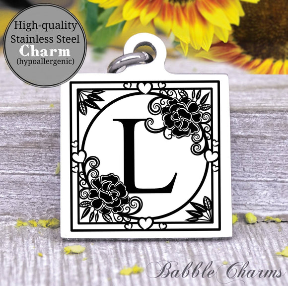 Alphabet charm, Letter L, Alphabet, initial charm, Steel charm 20mm very high quality..Perfect for DIY projects