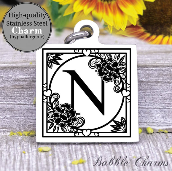 Alphabet charm, Letter N, Alphabet, initial charm, Steel charm 20mm very high quality..Perfect for DIY projects