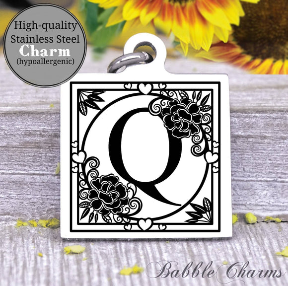 Alphabet charm, Letter Q, Alphabet, initial charm, Steel charm 20mm very high quality..Perfect for DIY projects