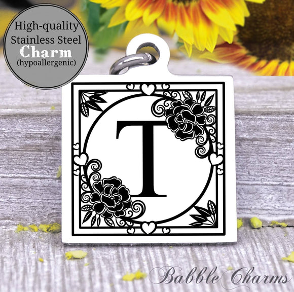 Alphabet charm, Letter T, Alphabet, initial charm, Steel charm 20mm very high quality..Perfect for DIY projects