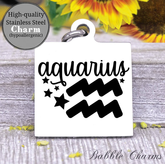 Aquarius, aquarius charm, sign, zodiac, astrology charm, Steel charm 20mm very high quality..Perfect for DIY projects
