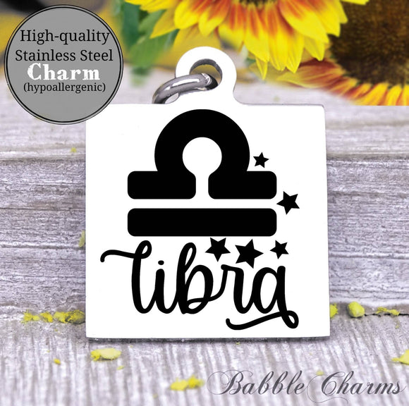 Libra, libra charm, sign, zodiac, astrology charm, Steel charm 20mm very high quality..Perfect for DIY projects