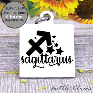 Sagittarius, Sagittarius charm, sign, zodiac, astrology charm, Steel charm 20mm very high quality..Perfect for DIY projects