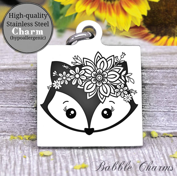 Fox charm, cute fox, fox, animal charm, Steel charm 20mm very high quality..Perfect for DIY projects