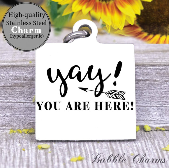 Yay, you are here, yay charm, charm, love my cat charm, Steel charm 20mm very high quality..Perfect for DIY projects