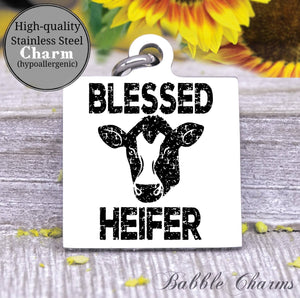 Blessed Heifer, heifer harm, cow, cow charm, Steel charm 20mm very high quality..Perfect for DIY projects