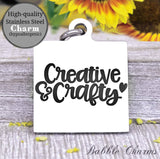 Creative and crafty, born to craft, craft charm, Steel charm 20mm very high quality..Perfect for DIY projects
