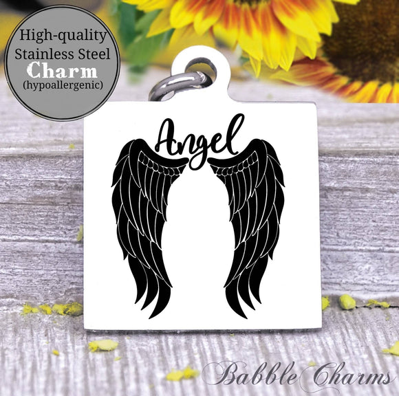 Angel, memorial, loss, angel charm, Steel charm 20mm very high quality..Perfect for DIY projects
