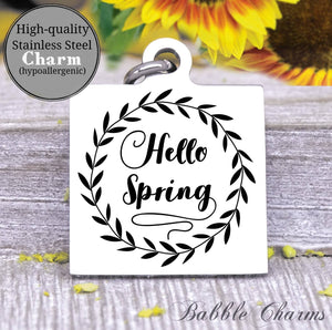 Hello Spring, hello spring, spring charm, Steel charm 20mm very high quality..Perfect for DIY projects