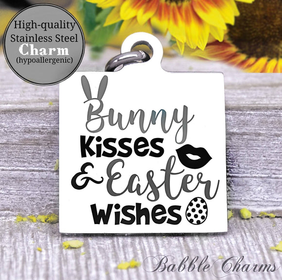 Bunny kisses and easter wishes, bunny, easter charm, Steel charm 20mm very high quality..Perfect for DIY projects