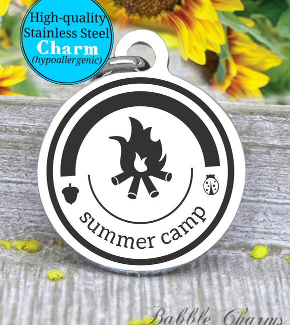 Summer Camp, summer camp charm, camping charm, Steel charm 20mm very high quality..Perfect for DIY projects