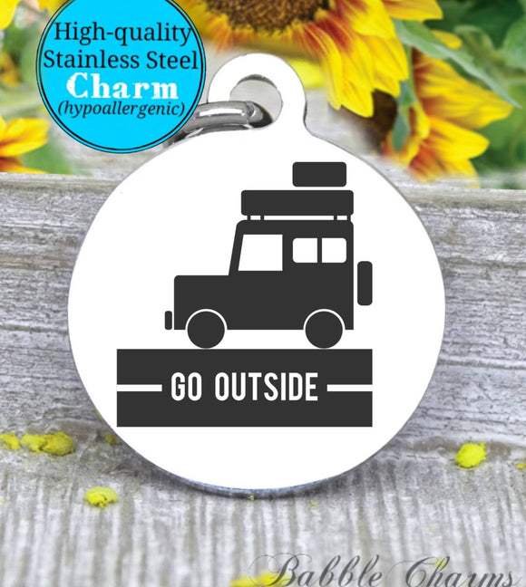 Go Outside, adventure, adventure charm, jeep charm, Steel charm 20mm very high quality..Perfect for DIY projects