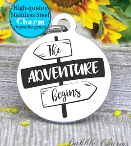 The adventure begins, adventure, adventure charm, exploring charm, Steel charm 20mm very high quality..Perfect for DIY projects