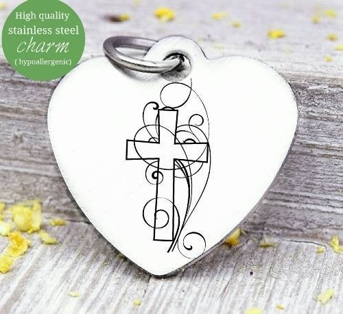 Cross charm, cross easter cross, easter charm, Steel charm 20mm very high quality..Perfect for DIY projects