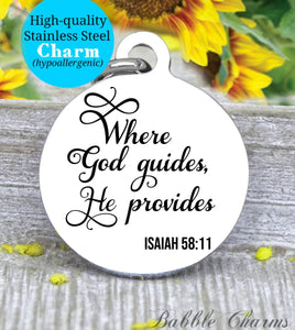 Where God guides he provides, God charm, Jesus charm, Steel charm 20mm very high quality..Perfect for DIY projects