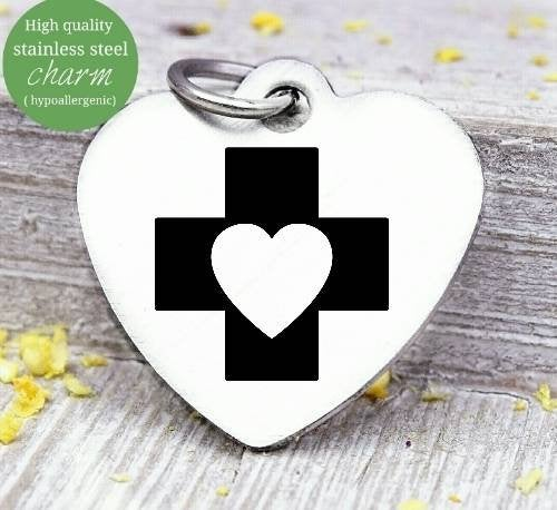 Nurse, medical, nurse gift, nurse, nurse charm, Steel charm 20mm very high quality..Perfect for DIY projects