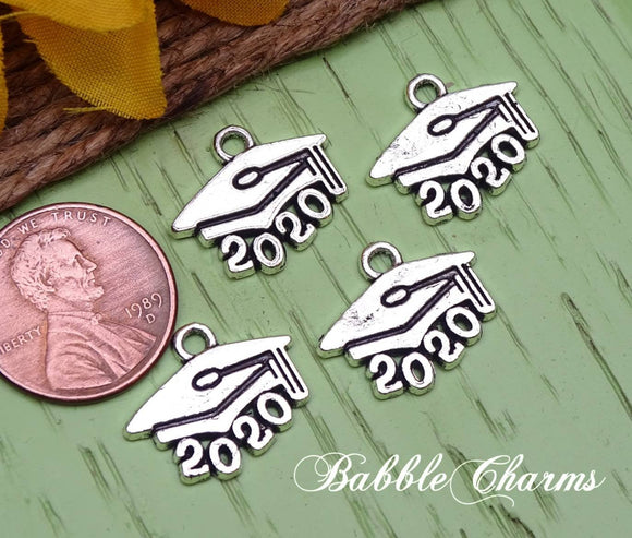 6 pc 2020 charm, graduation cap, graduation, Charms, wholesale charm, alloy charm
