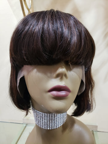 Brazilian Full Front Lace Short Bang Wrap Bob