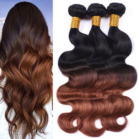 Brazilian 1 Black Auburn Ombre Body Wave
