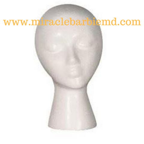 Female White Styrofoam Mannequin Head