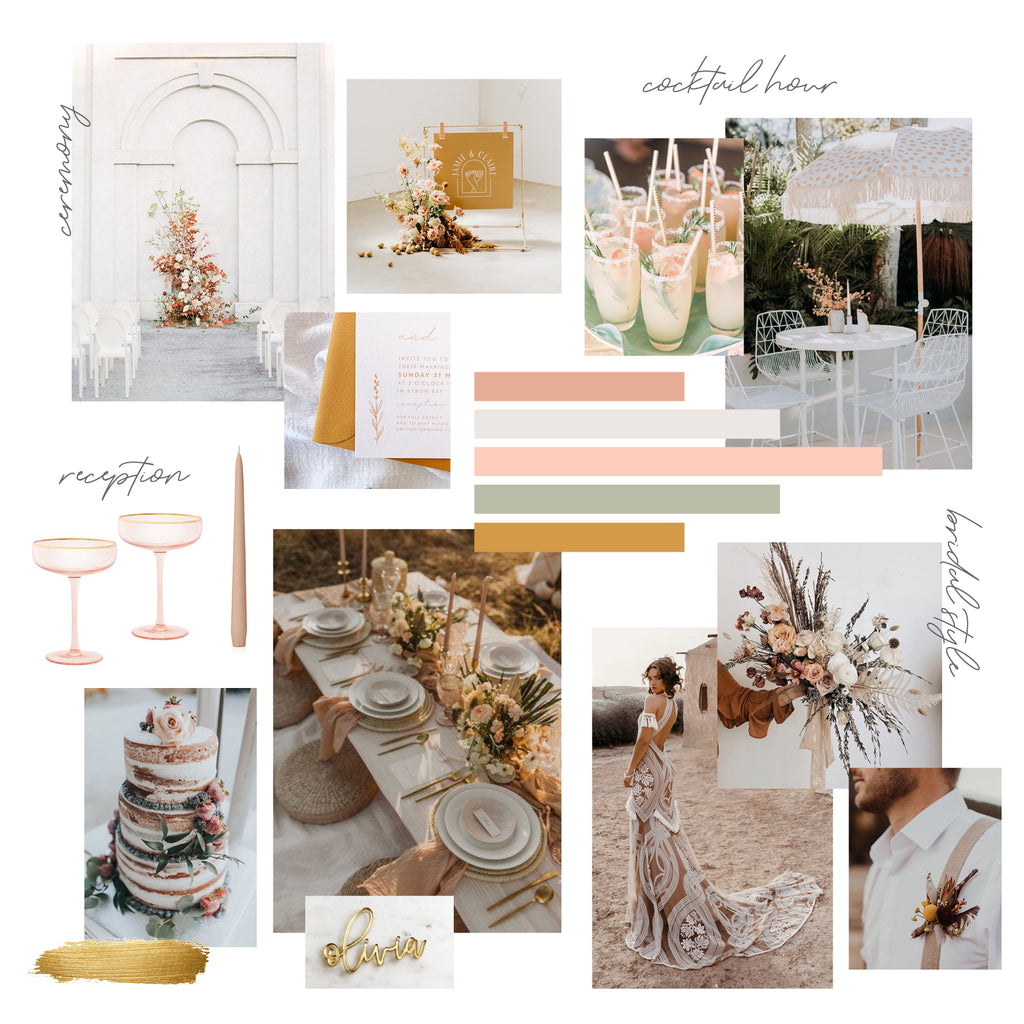 wedding moodboard styling boho colour