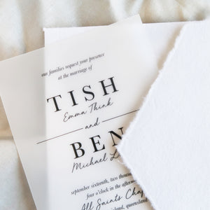 wedding invitations, vellum with black printing, hand made envelope