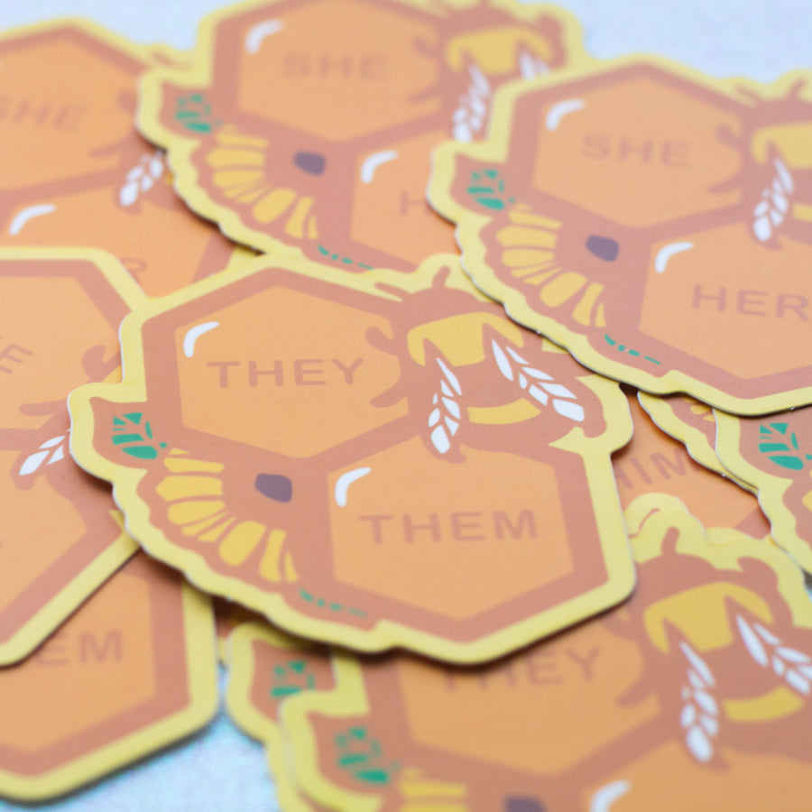 Honeycomb Pronouns Sticker