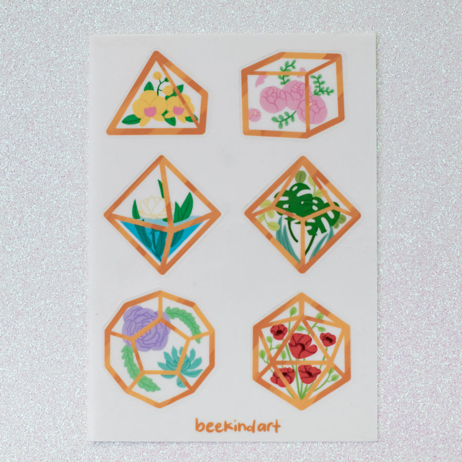 Terrarium Dice Sticker Sheet
