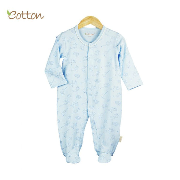 Eotton Organic Baby Romper - long sleeve -footed romper - 8 different prints