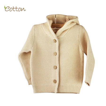 Eotton Organic Baby Toddler Cable Knit Hoodie Sweater