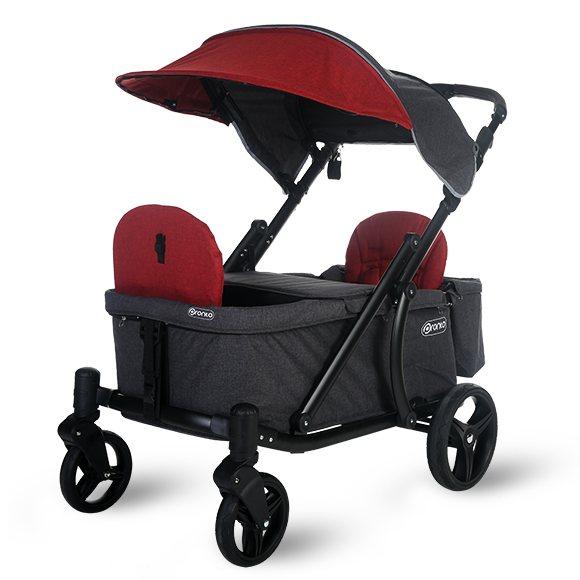 Pronto One Strollerwagon - Burgundy with black frame - Starter package