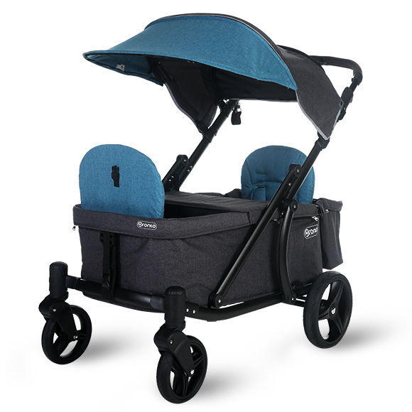 Pronto One Strollerwagon - Dark Teal with black frame - Starter package