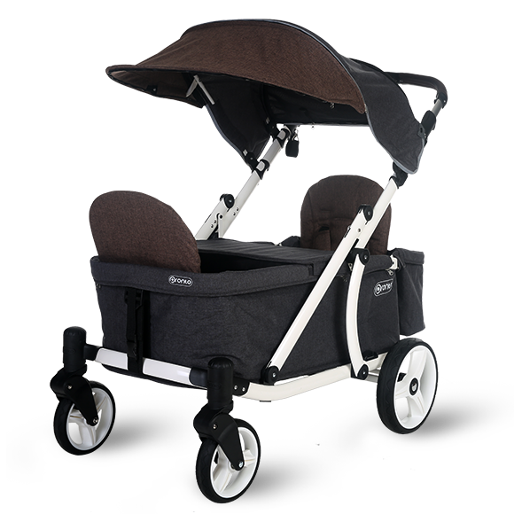 Pronto One Strollerwagon - Brown with white frame - Starter package