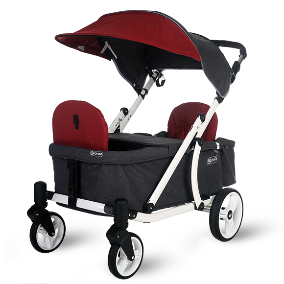 Pronto One Strollerwagon - Burgundy with white frame - Starter package