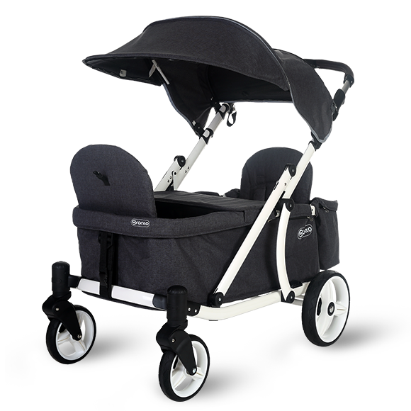 Pronto One Strollerwagon - Dark Grey with white frame - Starter package