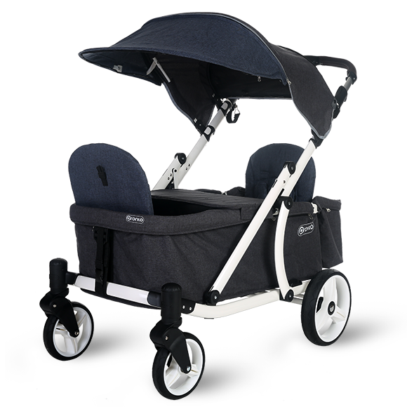 Pronto One Strollerwagon - Navy with white frame - Starter package