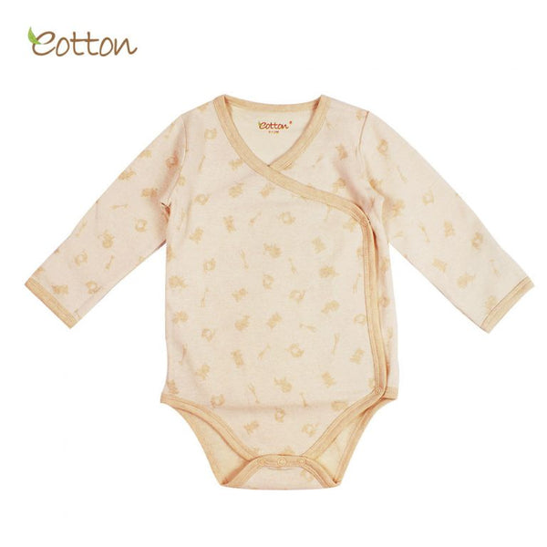 Eotton Organic Baby Onesies - lullaby print - side button - short or long sleeve
