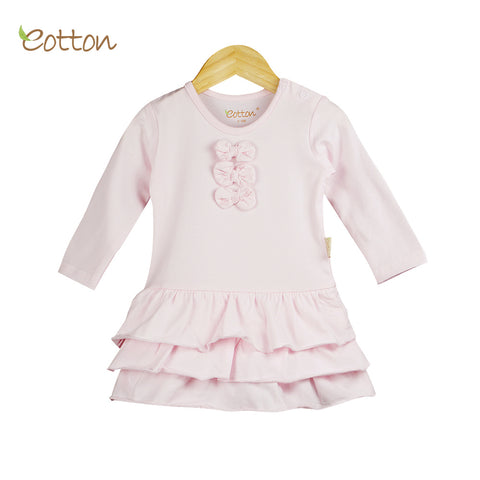 Eotton Organic Baby Girl Pink Ruffled Dress