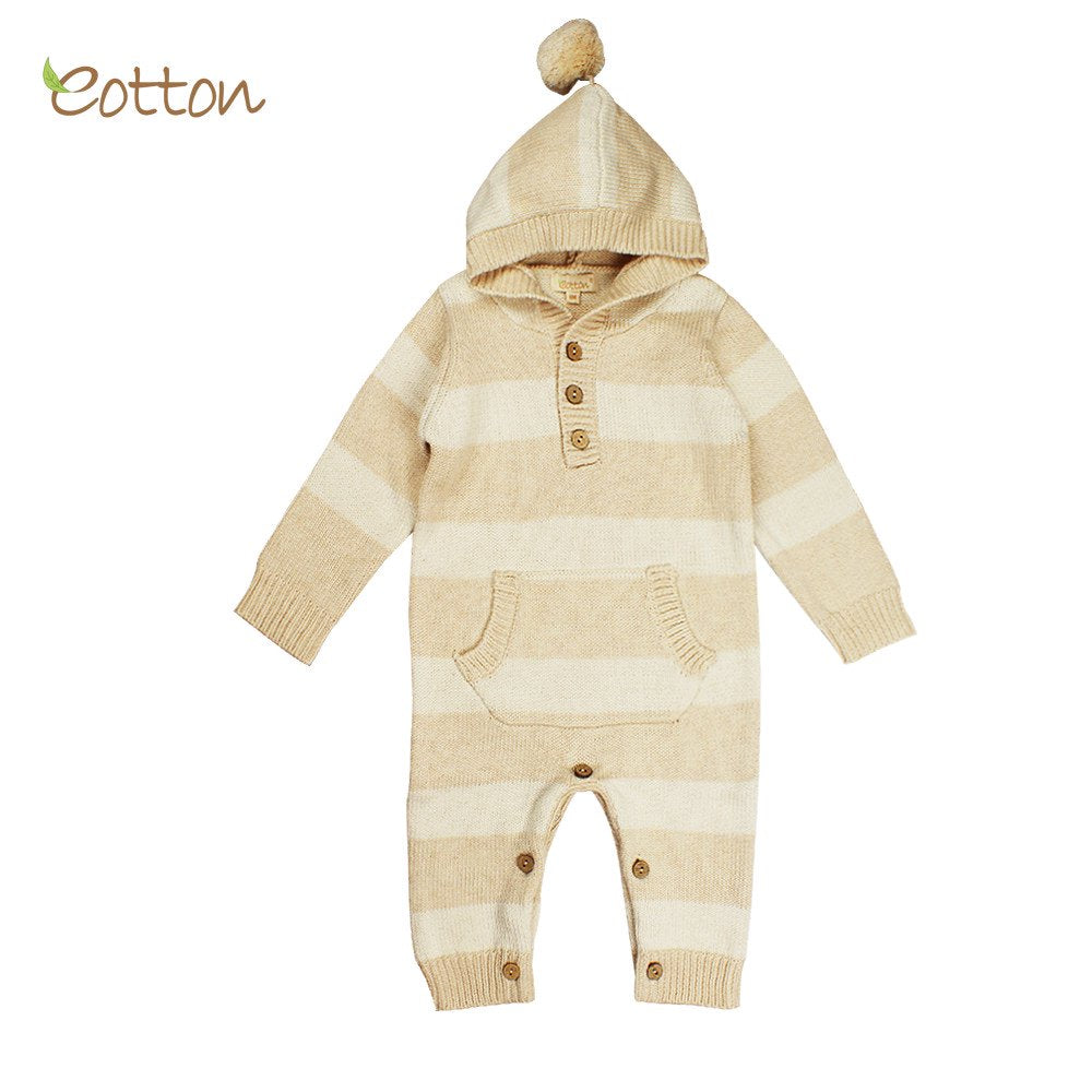 Eotton Organic Baby Toddler Cable Knit Long Sleeve One-Piece, Sweater Romper, Hooded