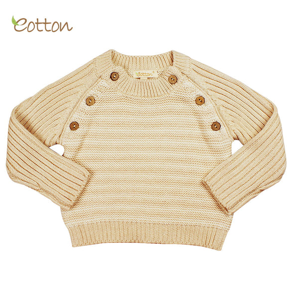 Eotton Organic Baby Toddler Cable Knit Long Sleeve Sweater Top - striped